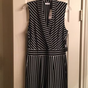Black and white pinstripe jumpsuit